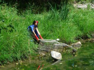 Water Woman with Shopping Cart